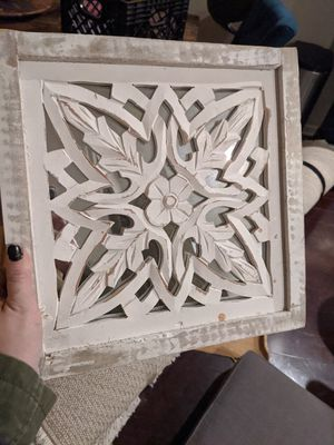 Wooden wall art with mirror for Sale in Columbus, OH