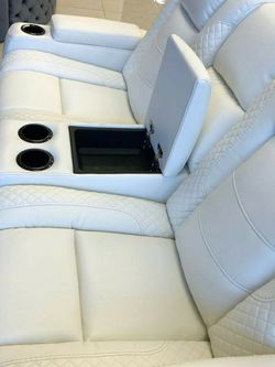 ❤Party Time ✔️Feel the comfort👉White LED Power Reclining Loveseat with Adjustable Headrest by Ashley for Sale in Philadelphia,  PA