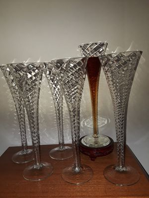 Antique Six Hand Blown Spiral Crystal Champagne Flutes for Sale in Dittmer, MO