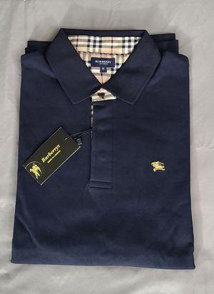 Last one!! Burberry mens long sleeve polo shirt, Dark blue XXL for Sale in Oakland Park, FL