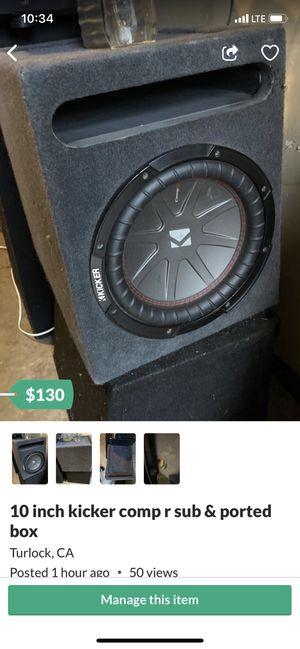 10 inch kicker comp r sub & ported box for Sale in Turlock, CA