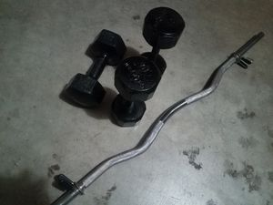 Dumbells and curl bar for Sale in Tacoma, WA
