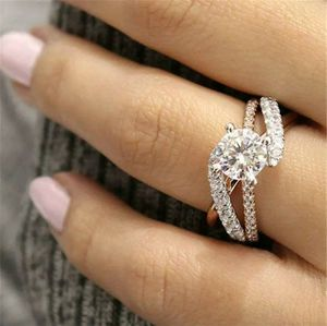 Brand new womens 2 tone stamped 925 sterling silver & 18KT Gold genuine White Topaz Infinity Crossover engagement ring or promise ring for Sale in New Port Richey, FL