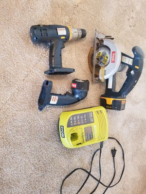 Ryobi power tools. Dril, saw, charger, flash for Sale in Pleasanton, CA