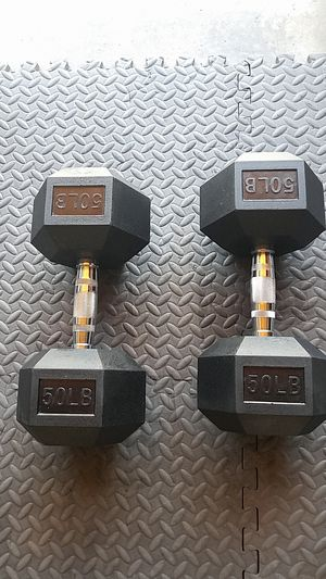 Pair 50lbs dumbbells rubber hex for Sale in Castro Valley, CA