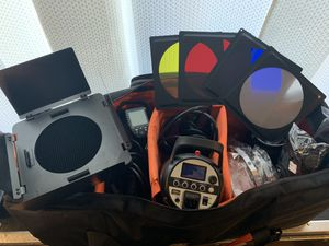 3 Flashpoint Studio 300 Monolight with Built-in R2 2.4GHz Radio Remote System with Transmitter for Canon and lots of extras for Sale in Los Angeles, CA