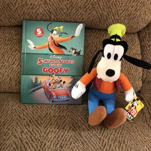 Disney goofy plush toy 14 inches tall with hardback book for Sale in Saint Charles, MO