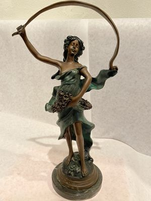 Bronze sculpture on Marble base - Sculpture of a woman by Auguste Moreau - Pristine Condition 18 inches tall for Sale in Downey, CA
