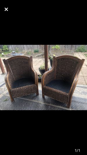 Chairs Pier 1 Rattan high back chairs 2 for Sale in Fresno, CA