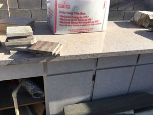 Kitchen cabinets with granite countertop in good shape beige in color $100 for Sale in Las Vegas, NV