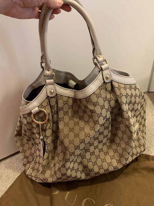 Authentic large Gucci bag beige