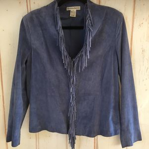 Draper & Damon's Blue fringed suede jacket Size 8/10 for Sale in Rio Linda, CA