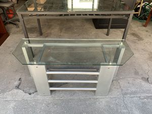 Glass tv stand for Sale in Brooklyn, NY