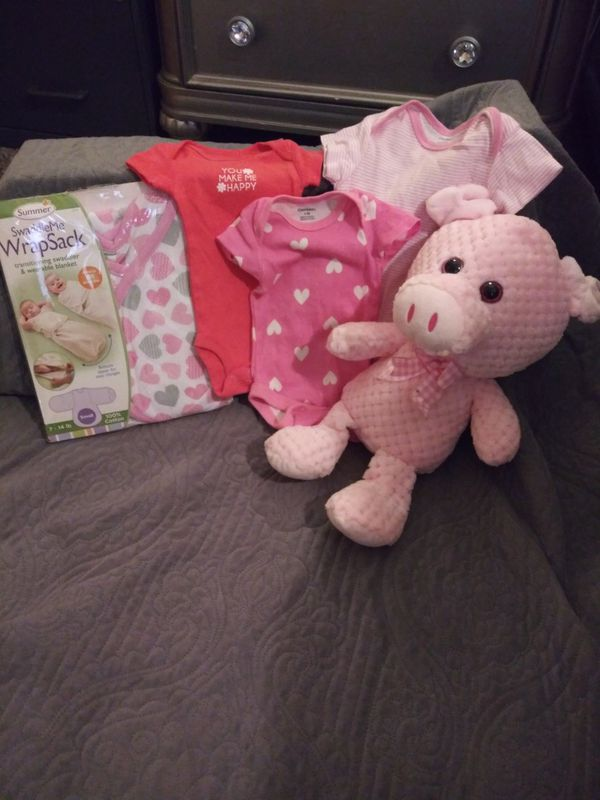 0 to 9 month old onesies, swaddleme wrapsack for 7 to 14 lb, pink pig stuffed animal