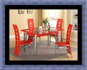 Glass red dining table with leather chairs for Sale in Hyattsville, MD
