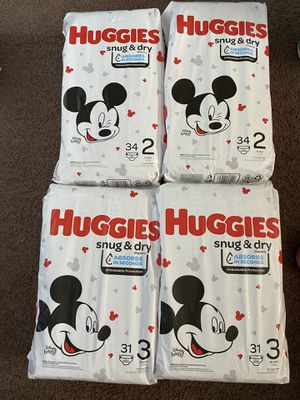 Huggies size 2 and 3 $15 for 2 packs for Sale in Westminster, CA