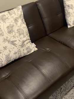 Mainstays Connectrix Faux Leather Futon with Cupholders for Sale in Jersey City,  NJ