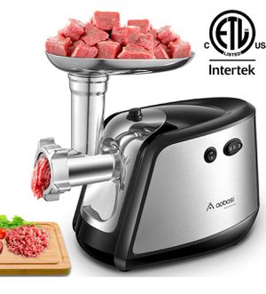 Electric Meat Grinder 【1200W MAX】3-IN-1 Stainless Steel Food Grinder with 3 Stainless Steel Grinding Plates,Kubbe & Sausage Attachment|Heavy Duty Mot for Sale in Springfield, VA