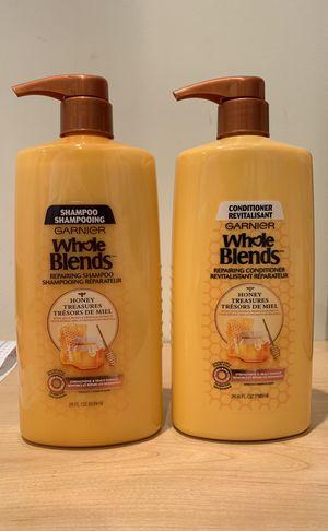 2 HUGE 28 oz Garnier Whole Blends Honey Treasures repairing shampoo and conditioner for Sale in Alexandria, VA