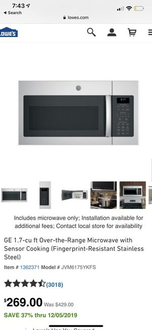 GE Over Range Microwave (Brand New) for Sale in Monroe, NC