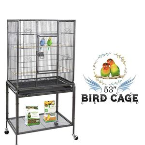 53-Inch Bird Cage with Stand Made From Wrought Iron for Sale in South Gate, CA