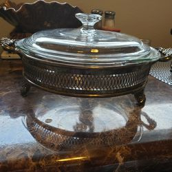 Pyrex Casserole With Vintage Silver Holder for Sale in Tacoma,  WA