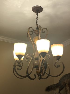 Walnut Chandelier with Champagne Glass Shades 5 light for Sale in Luray, VA