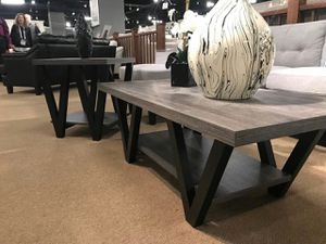 2-Piece Coffee Table and End Table, Distressed Grey and Black Color for Sale in Garden Grove, CA