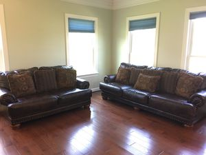 Leather sofa with love seat for Sale in Ashburn, VA