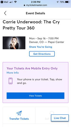 Pit seats (Carrie Underwood) in Denver for Sale in Colorado Springs, CO
