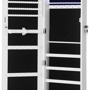 """SONGMICS 47.2"""" H Full Screen Mirrored Jewelry Cabinet Armoire, 6 LEDs Jewelry Organizer Wall Hanging/Door Mounted, Larger Capacity, Pure White for Sale in El Monte, CA"""
