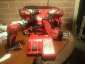 BRAND NEW MILWAUKEE 18V 4 PC. SET 1/2 DRILL DRIVER, 1/4IN IMPACT DRIVER, HACKSAW, FLASH LIGHT, 1.5AH BATTERIES, CHARGER, TOOL BAG for Sale in Phoenix, AZ