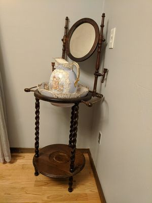 Antique table with bowl and pitcher for Sale in Gresham, OR