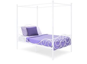 Products 4 Post Metal Canopy Twin Bed Frame w/ Heart Scroll Design, Slats, Headboard, and Footboard - White for Sale in Methuen, MA