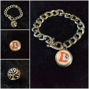 Denver Broncos and tree of life snap button interchangeable charm bracelet for Sale in Aurora, CO