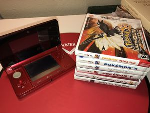 Original Red 3ds with 6 games for Sale in Cape Coral, FL
