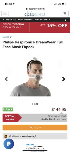 Philips Respironics DreamWear Full Face Mask Fitpack CPAP Machine Mask and Hose for Sale in Tampa, FL