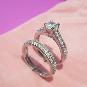 Stamped 925 Sterling Silver Engagement/ Wedding Ring Set -Code BXQ10 for Sale in Houston, TX