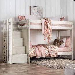 White Rustic Elite Bunk Bed Twin Over Twin With Built In Dresser Drawers for Sale in Huntington Beach, CA