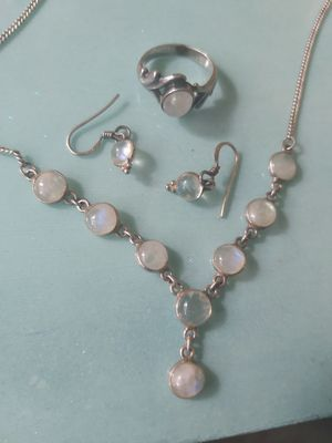 Sterling silver moonstone necklace earrings and ring for Sale in Springfield, OR