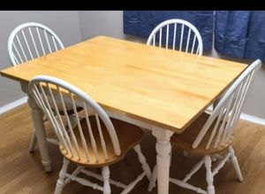 All Wooden Blonde & White Accent Table & 4 Chairs for Sale in Arvada, CO