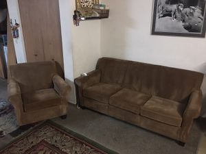 Couch and chair it's nice and clean it's tan suede no rips or stains no pets or smoke for Sale in Hilliard, OH