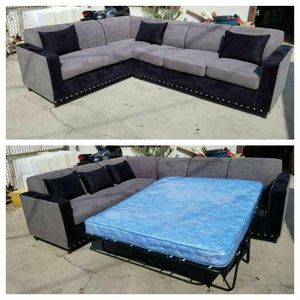 NEW 7X9FT CHARCOAL MICROFIBER SECTIONAL WITH SLEEPER COUCHES for Sale in Moreno Valley, CA