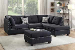 Brand New! 4 Piece Black Luxury Sectional with Ottoman for Sale in Orlando, FL