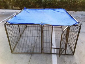 Brand new 32 inch tall x 32 inches wide each panel x 8 panels heavy duty exercise playpen with sun shade tarp cover fence safety gate dog cage crate for Sale in Santa Fe Springs, CA