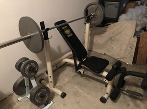 Weight Bench w/ 250lbs in Weights for Sale in The Woodlands, TX