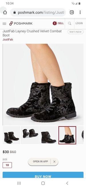 Black crushed velvet combat boots for Sale in Santa Ana, CA