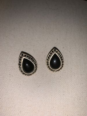 Sterling silver black onyx and diamond earrings for Sale in Newport News, VA