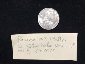 Panama 1947 1 Balboa Coin Silver Dollar Size 0.900 AG GR 26.73 for Sale in Upland, CA