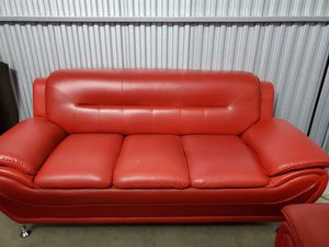 Red leather couch for Sale in Miramar, FL